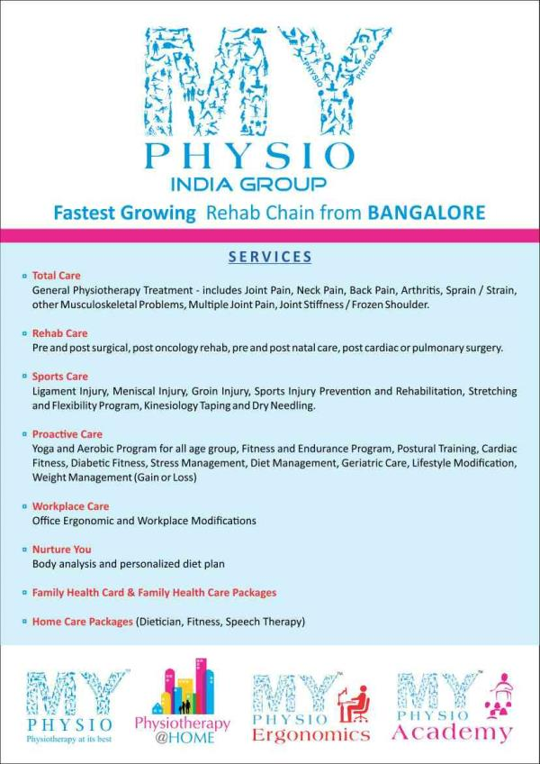 My physio providing leading health care  services for physiotherapy treatment.   Our physiotherapy services-  1.       Office Ergonomics 2.       Joint Pain & Paralysis treatment  3.       Dry Needling / Kinesiology Tapping 4.       Postural Correction 5.       Muscle Activation 6.       Neuro Dynamics 7.       Manipulation & Mobilisation 8.       Footwear Corrections 9.       Aquatic Therapy 10.   On field Sports Training 11.   Boot Camps 12.   Soft Tissue Manipulation 13.   Pregnancy Exercise 14.   Physio ball/ Thera band exercises 15.   Bobath / NDT Techniques 16.   MET/ MFR Techniques 17.   Geriatric & Pediatric Rehabilitation 18.   Slimming Therapies 19.   Obesity & Weight Management 20.   Functional Instrumental Assistive Soft tissue Manipulation ( FIASTM 21.   Hot & Cold Therapy 22.   Stretching & Strengthening Programmes  23.   Home care services  Contact details : -  Jaipur Centres –  Raja park – 260, Mahalaxmi Appartment, Ram gali no.-5, near hotel Bliss Shyam Nagar – Sanjeevani Hospital, New Sanganer Road,  Vidhyut Nagar – 184-A, Sarthi Marg, Near Bhan Nagar Crossing, Prince road Civil Lines – Aerobfit, A7/B, Kiran Path, Suraj nagar (West) Malviya Nagar – B-33 A, Ashok Vihar, Girdhar Marg Mansarovar – Meera Maternity & General Hospital, Panchwati Colony Vaisahli Nagar ( Home care ) – 238, Goutam Marg, near PNB Bank, Amrapali Circle Khatipura - Marudhar Hospital, 83-89, Singhbhoomi, Khatipura  Get online appointment at -  Website – http://www.myphysioindia.com/  & www.myphysioindia.remedieskart.com Just Dial Practo Blog  - http://myphysioindia.blogspot.in/ Facebook - https://www.facebook.com/pages/MY-Physio-India/1393053140918127 Twitter - https://twitter.com/MyPhysioIndia Linkedin - http://www.linkedin.com/home?trk=nav_responsive_tab_home Email – myphysioindia@gmail.com   Mobile – 09782468066, 09829308777, 08971523209