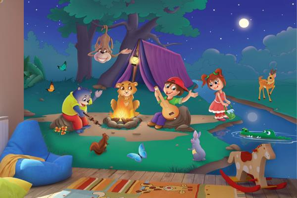 Dress your room walls with this story based Kids Wallpaper For Walls featuring a boy and a girl with their animal buddies enjoying the bonfire camp.  For More Info: https://www.wallsandmurals.com/kids-wallpaper  Kids Wallpaper For Walls - by Walls and Murals, New York
