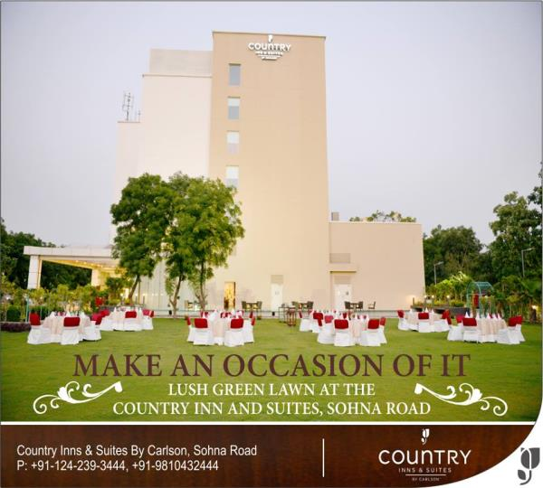 Let's get the party started! Whether it's a #wedding, a party or a get-together, turn the occasion magical with our lavish arrangements, impeccable #ambiance, spacious #partyzones and incredible food! #CountryInnSuites #SohnaRoad #Gurgaon. For more details please click here: http://bit.ly/25ppGuf.