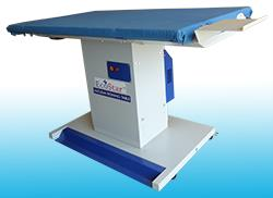 Vacuum Ironing Table in Kerala  Nagarjun International Trading Company-Vacuum Ironing Tables are Covered with a washable Silicon Foam with Heat Proof Cloth. Available in single phase and buck attachment (Optional). Extract moisture and heat - by Nagarjun International Trading Company- Call Us 9087609000, Tirupur