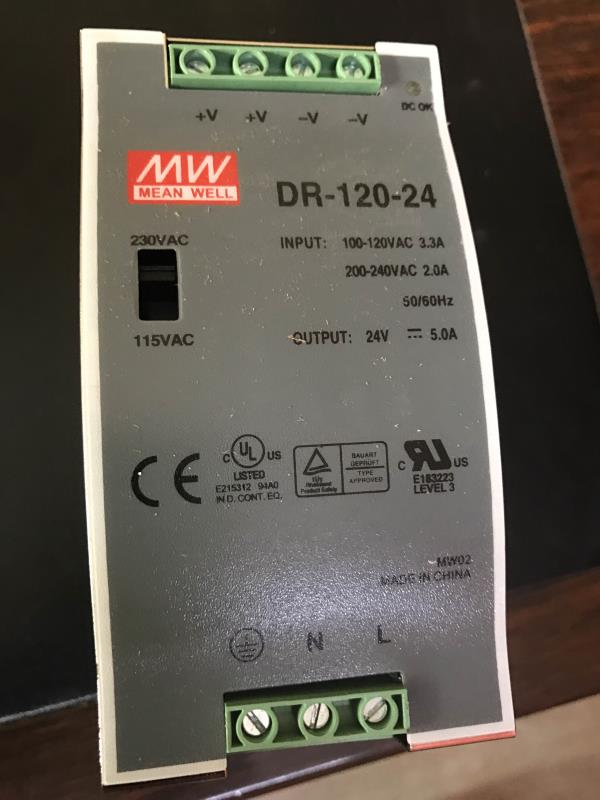 Meanwell smps DR-120-24 24v 5amps rate Rs.3100.00 each