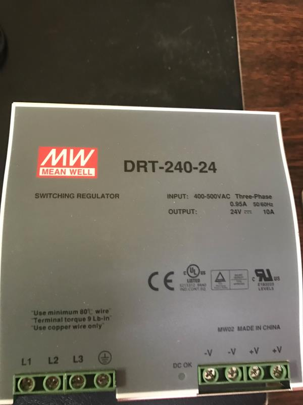 Meanwell smps DRT-240-24 24v 10amps 3 phase 400-500vac Rs.6325.00 each