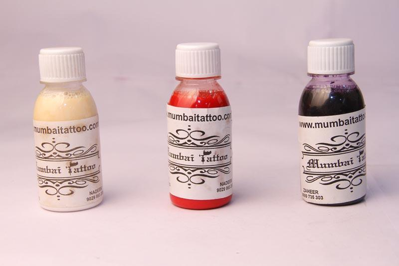 MUMBAI TATTOO SUPPLIES Airbrush Tattoo Temporary Ink - 100 ml  Common tattoo ink, is 100ml each bottle, total is 10 different color. white, black, red, blue, yellow, green, rose, green, pale purple, red, brown. Best in Class and Quality Pro - by Mumbai Tattoo, Mumbai