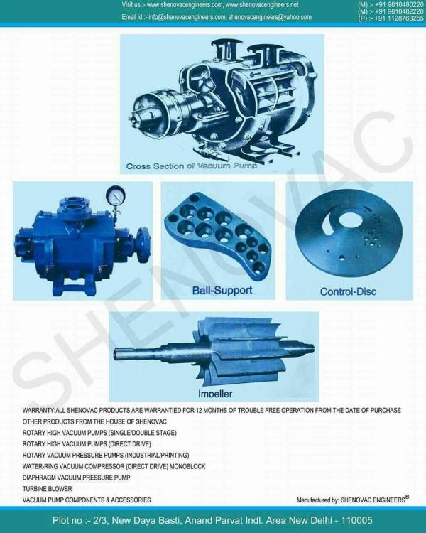 We are the leading Manufacturer of Water-Ring Vacuum Pumps.  we also have Spare Parts of all types  Water-Ring Vacuum Pumps ( Indian and imported).  Shenovac water-ring vacuum pumps are the suited for pharmaceutical, food, confectionery, petro-chemicals, textiles and plastic industries, paper and sugar mills, cement, metallurgical laboratories and furnaces, Distilleries, pneumatic conveying, cigarette, tile and ceramics industries etc . these pumps are approved for government, semi government and private industrial projects all over India.  SHENOVAC has always been alive to the changing needs of the industry and it was this flexibility that helped us to make