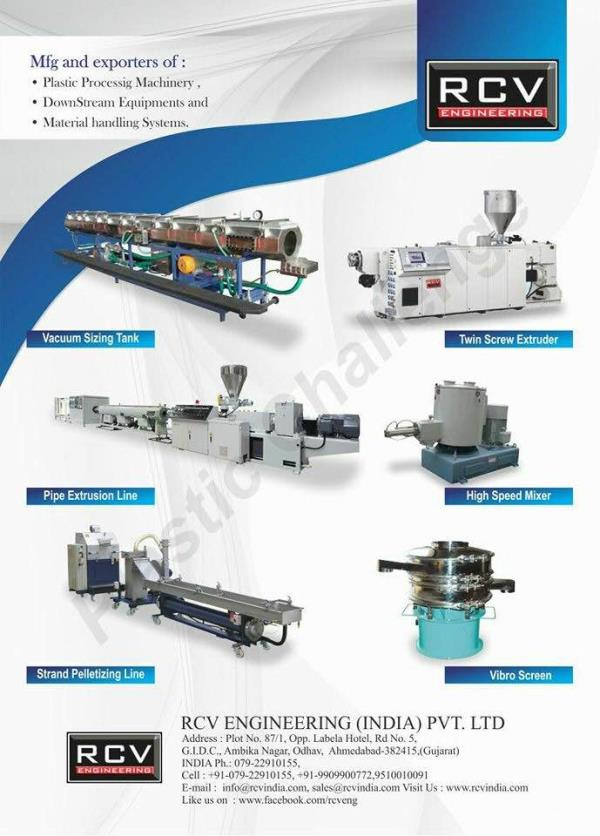 twin screw pvc pipe plant manufacturers in india  , hdpe pipe machine manufacturers in india, upvc /cpvc pipe machine manufacturers in india , we also manufacture conical twin screw extruder fro upvc, cpvc pipes and upvc window profile machine in india , apart of that we are also manufacturers of vacuum sizing tanks, tube traction unit , tube cutting units in india , for more information you can log on to www.rcvindia.com  Www.rcveng.com Www.rcvindia.in Www.cpvcextruder.com  Email us your requirement on Info@rcvindia.com Or call uson +919510010091