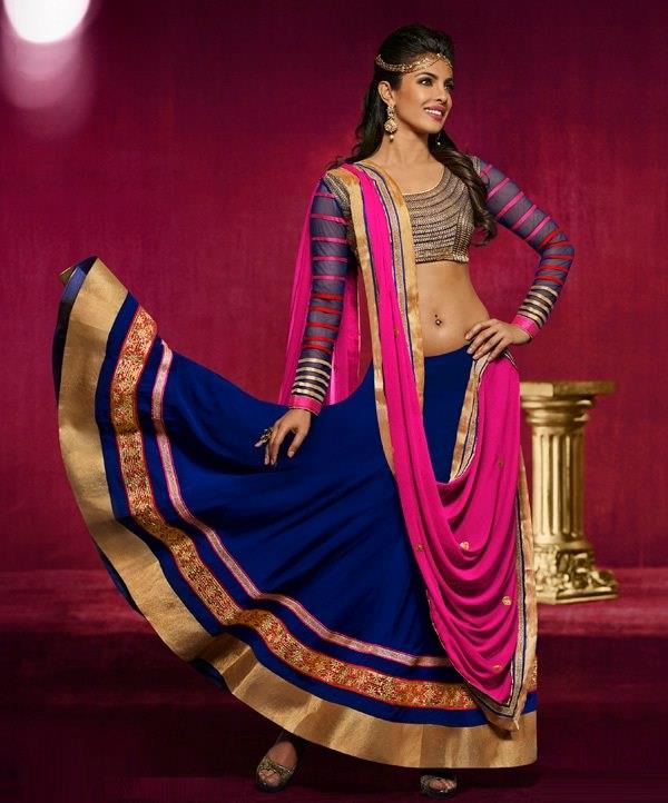 Fancy Lehenga Set with Designer Choli  Don this enthralling design and make everyone go gaga over your style! Fucshia pink faux chiffon dupatta make a killer combo with dark blue lehenga crafted with zari, resham, stone, cut bead, sequins, lace, and patch border work. And the full-sleeve choli with contrast horizontal stripes is so stunning – it will take the beauty of your attire to a whole new level.  #Simple Lehengha Choli At Lowest Price  SHOP NOW: http://www.myshopmall.com/Single/Lahenga/Lehenga-Art-Silk-Choli-Art-Silk-Dupatta-Net-Multi-Heavy-Worked-Lahenga-1-5