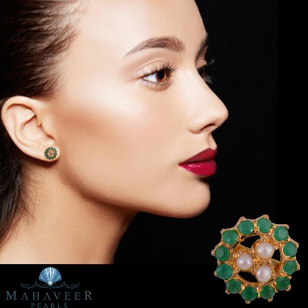 Mahaveer Pearls Exquisite Stud Earrings with Pearls & Colored Stones. Online Price: Rs. 449 each
