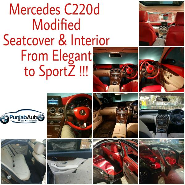 We have recently modified MERCEDES BENZ C220d !! * From Elegant Looks to Stunning and Sporty Looks. * Customised Leather Seat Cover to give Comfort and Style * Red Colour Interior to give Sporty Look * It also reflects passion, power, style and attitude.
