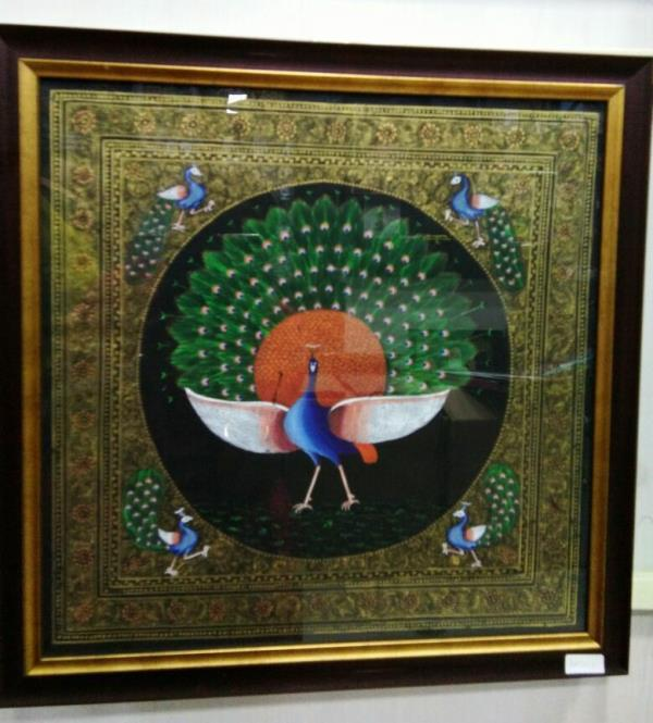 Buy Paintings Online @ Signatures, Tirupur.  Traditional Handmade Tanjore Paintings made with 22 carat gold foil, semi precious stones, glass pieces and gold..  Whatsapp @ 93630 00130