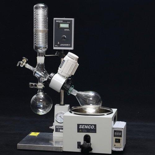 SENCO Rotary Evaporator suppliers in Mumbai   SENCO Tandem Receiving R5005KB 50L  SENCO Rotary Evaporators are developed by sticking to the basics, keeping in mind safety of the user and focusing on giving desired results. They enable to achieve desired results affordably and are backed by trustworthy service. The Lab Scale Rotary Evaporator is simple yet accurate, basic yet precise, up to the mark on performance and friendly on budget. Senco rotary evaporator  We have a unite Senco rotary evaporator in Hyderabad and India we have best price senco rotavapor   These Rotary Evaporators are used for a variety of applications including:  •	Concentration  •	Drying  •	Refining  •	Separation  •	Crystallization    Vacuum Sealing system  Specially designed and precisely manufactured Anti-corrosion and Wearable Sealing Systems in these Rotary Evaporators enables to reach ultimate vacuum rates of less than 1 Torr. High quality material leads to longer seal life and hence about 90% of the users did not replace the seal in one year.   Tandem Type Continuous Receiving  With SENCO's patented unique Tandem Receiving Technology (patent No. 03229693.2), system vacuum does not drop during discharging shifts. With single receiving flask vacuum leakage points are reduced by 50%. Ultimate system vacuum is further improved by Glass-Mirror finish on all Flange joints.   PTFE Charging Valve  To offer pure, clean charging process and durable use experience, new structure and PTFE material is used in the charging valve.   Flange Quick Press Ring  One-piece quick clip design eliminates dead seizures in glass joints. Offer new experience on easy, reliable and high sealing connection for flanges (no tools required).   PTFE Discharge Valve  Senco's patented (Patent No. 01253089.1) PTFE discharge valve is anti-corrosive, does not require any vacuum grease, and thus eliminates any pollution to the solvent received.   Electric Lifting  Offer smooth electric bath lift with manual lift function for emergency power failure use.   Bumping Tube  Bump tube is incorporated in the functional structure of the Rotavapor to prevent unexpected solution bumping into the receiving flask.   Ex-Proof Modification  Offer Ex-Proof upgrade on Motor, Control Boxes of rotation and heating, Wiring and Safety measures as per user needs. Ex level reaches ExdIIBT4.   Flask Unload Handler  Flask Unload Handler is specially designed for handling and unloading big capacity evaporating flasks.