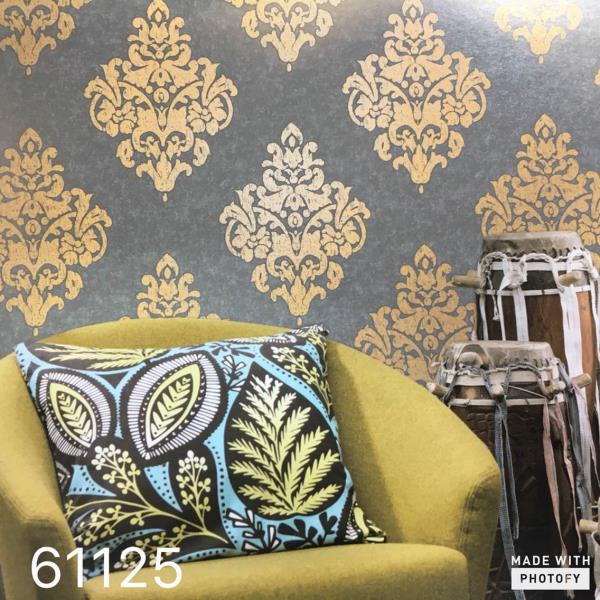 Best Imported Wallpaper in India.   A Metallic Damask Imported Wallpaper for your Drawing Room from Shangrila Imported Wallpaper 61125.  A Grey Base with Gold Damask Imported Wallpaper for Classy Look in Your Home.   To buy call us-  Wallparadise- Shangrila Imported Wallpaper Supplier in Delhi.