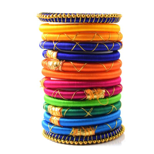 Indian Handcraft Fashion All Latest Rainbow Colorful Exquisite silk thread bangles Set of 14pc  Perfect for Party Function, Marriage and Mehandi Function Indian Manufacturer & Wholesaler Available Sizes are 2.2, 2.4, 2.6, 2.8, 2.10 Product  - by ANMOL EXPORTS JEWELLERS, Jaipur
