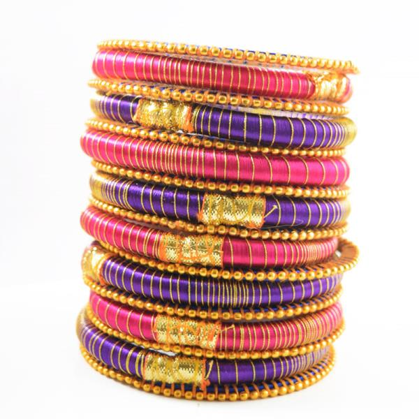 Indian Handcraft Genuine Fashion Party Wear jewelry Silk thread bangles Set of 17pc  Perfect for Party Function, Marriage and Mehandi Function Indian Manufacturer & Wholesaler Available Sizes are 2.2, 2.4, 2.6, 2.8, 2.10 Product Code: B31 P - by ANMOL EXPORTS JEWELLERS, Jaipur