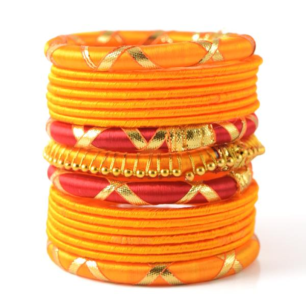 Indian Handcraft Traditional Sari Wear Silk thread bangles Set of 17pc  Perfect for Party Function, Marriage and Mehandi Function Indian Manufacturer & Wholesaler Available Sizes are 2.2, 2.4, 2.6, 2.8, 2.10 Product Code: B33 Price INR: 209 - by ANMOL EXPORTS JEWELLERS, Jaipur