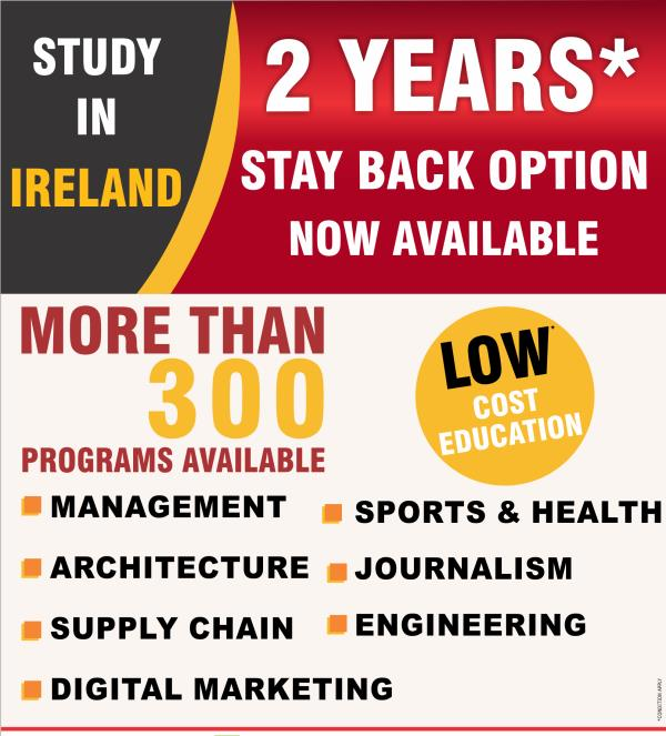 Study In Ireland - Ireland offers upto two years of stay back after course completion . More than 300 programs available in Management , Architecure , Supply Chain , Digital Marketing , Sports & Health , Journalism , Engineering . Contact Gyaan Overseas Education today for more details .   Overseas Education Consultancy  Study In Europe