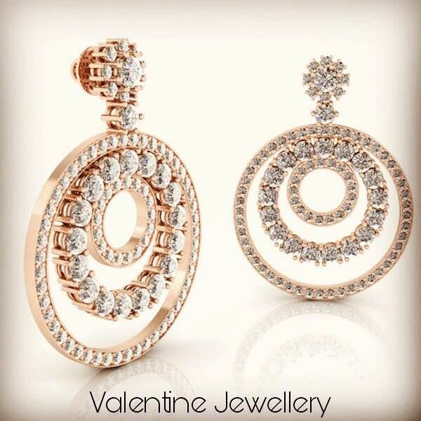 There's nothing as beautiful as Rose Gold Jewellery and these Rose Gold Earrings are making a statement with Round Brilliant Diamond studded in concentric circles, amazingly designed to make your look more sensational only at Valentine Jewellery, Your Wholesale Jewelry Shop in jaipur, INDIA.