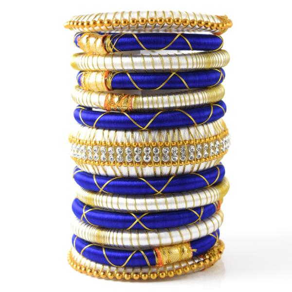 Indian Handcraft Latest Style Blue White Multicolor Silk Thread Bangles Set of 13pc  Perfect for Party Function, Marriage and Mehandi Function Indian Manufacturer & Wholesaler Available Sizes are 2.2, 2.4, 2.6, 2.8, 2.10 Product Code: B34 P - by ANMOL EXPORTS JEWELLERS, Jaipur