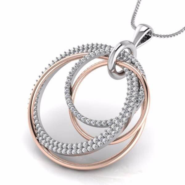 ⁠Pour your heart out to your sparkling desires. Pamper yourself with this Two Tone Gold Pendant. This  Circular Jewellery Design in Rose Gold & White Gold giving it a classy formation, only at Valentine Jewellery. For more details Whats App : +919828515847 or email at info@valentinejewelleryindia.com