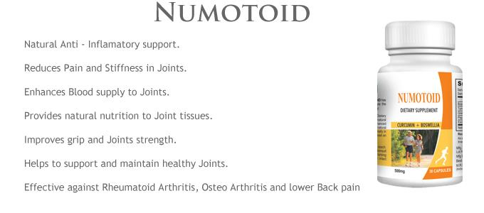 Numotoid. Joint Nutrition 30 Supplement Capsules Natural joint support formula  KEY INGREDIENT(S): Boswellia Serrata Extract, Curcumin (Turmeric Extract), Green Tea Extract, Vegetable lend Extract.  Buy now : https://www.payumoney.com/store/buy/camillotek008  More info :  http://camillotek.com/all/numotoid.html
