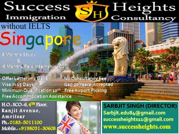 Singapore Study visa 6 Months Study and 6 Months Paid Internship (Job) No Consultancy Fee Offer Letter in 2 Days Minimum Qualification 10th 20 Years Gap Accepted Visa in 15 Days  Free Airport Pick up Free Accommodation Assistance Very Less College Fee