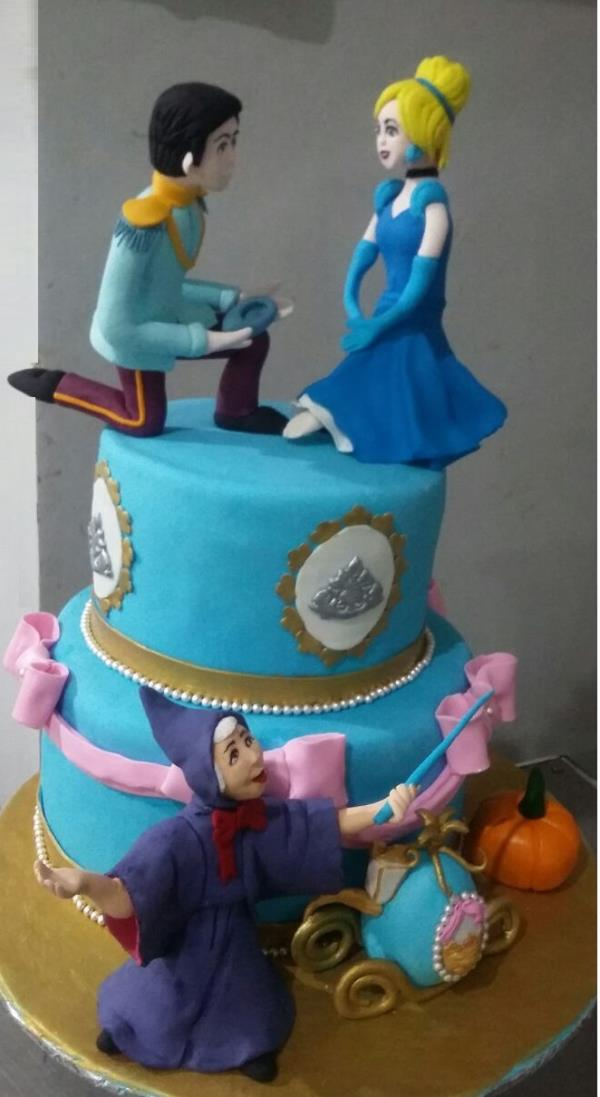 Cinderella Birthday cake from Sweet Cherry. Order online for home delivery of cakes anywhere in bangalore. Most of the cakes are eggless. Sweet Cherry specialises in custom cakes for baby shower, engagement, wedding, parties or any special events. Same day and Midnight delivery also available.