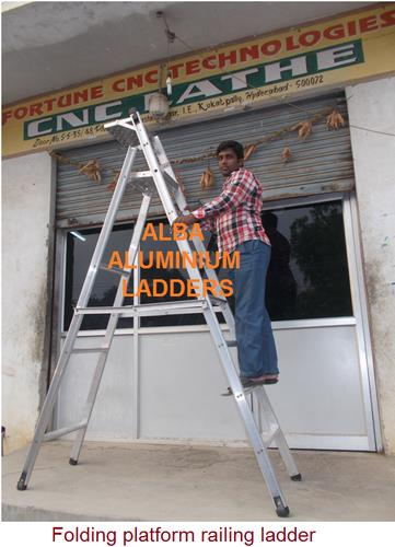 We  manufacturer and supply aluminium self supported ladder. These self supported ladders are available either with non- slip corrugated tubing or with wide steps fixed to the sides by expanding & flaring is provided with rubber shoes & caps. It is a combination of a trestle ladder & a detachable simple ladder. aluminium self supported ladder is designed to ensure easy sliding by means of rope & pulley arrangement. The self supported ladder is also provided with rubber shoes, safety device & gravity pawls.   Our Self Supported Ladder are absolutely customized. The Self Supported Ladder of Alba Aluminium Ladders are manufactured with good precision and are user friendly in working  Aluminium Self Supported  Ladders manufacturers in hyderabad. Aluminium Self Supported  Ladders manufacturers in visakhapatnam. Aluminium Self Supported  Ladders suppliers in vijayawada. Aluminium Self Supported  Ladders suppliers in karimnagar. Aluminium Self Supported  Ladders suppliers in warangal. Aluminium Self Supported  Ladders suppliers in guntur. Aluminium Self Supported  Ladders suppliers in nellore. Aluminium Self Supported  Ladders suppliers in medak.