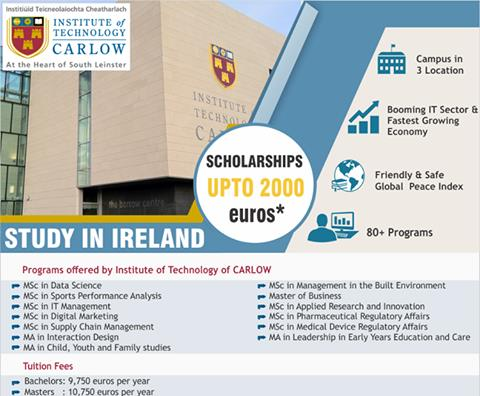 Study In Ireland   Institute Of Technology of Carlow  offers UG and PG courses in IT , Data Science , Digital Marketing , Supply Chain Management , MBA , Pharmaceutical Science , and many more . Scholarships Available * ,  2 years Stay Back available for Ireland after course completion .   For more details contact Gyaan Overseas Education   Study Abroad Consultants  Overseas Education Consultants  Study In Europe