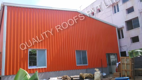 Chennai Roofing         We are the Chennai's No.1 Roofing. Widely demanded by different industries; these sheds are highly acknowledged for their perfect finish, extended durability, and rigid construction. We provide these in a spectrum of designs and specifications. These are fabricated with accuracy and care by employing top-notch components and latest technology under the strict surveillance of skilled professionals.         The offered panels are widely acclaimed in the market, owing to their specific attributes like high strength and fine finishing.