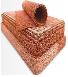 Rubberised coir Sheets and Blocks Twisted brown coir fibre bonded and cured using up to 23% rubber latex and set for required thickness. DRC% can also be increased as per customer requirement. Thickness from 3 mm to 200 mm is possible. Density varying from 50 kg/cu.m to 500 kg/cu.m can be processed. Measuring units: Kg