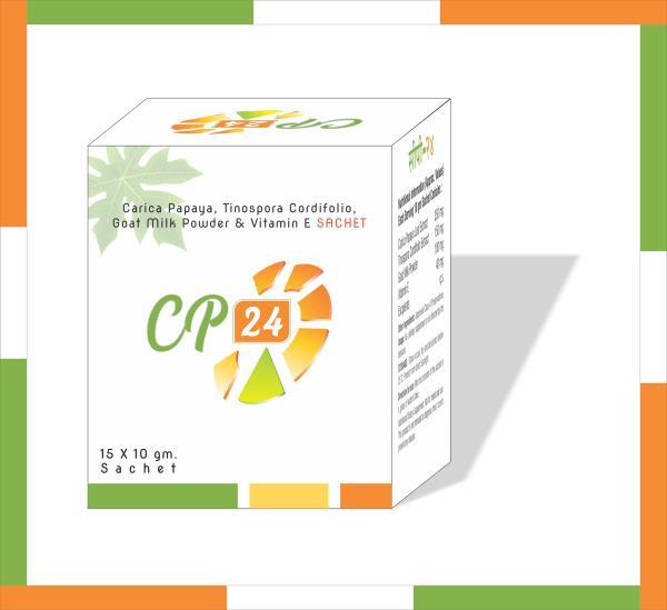 We are leading manufacturer of Caripa papaya, Tinospora cordifolia, goat milk powder & vitamin E Sachet form.