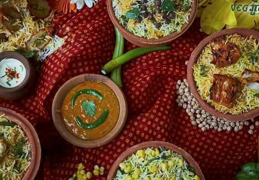 It's a Spread! A wide array of authentic vegetarian biryanis to set your buds ablaze! In Picture : Corn Biryani, Kathal Biryani, Dum Biryani & Kabuli Chane ki Biryani  #BiryaniSpread