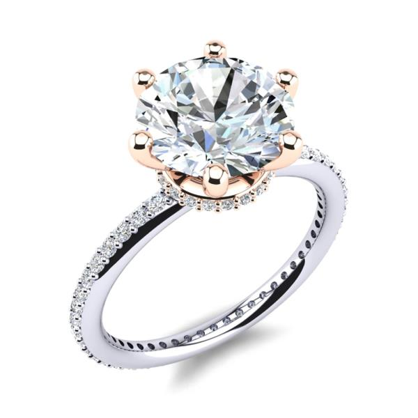 #Buy Solitaire Diamond Designer Ring for Wedding or Engagement# 4.923Gms.(18K Hallmarked White Gold) 0.57Cts (54 Pcs. of IGI Certified EF VVS Diamonds). 1.21 Cts. (1 Solitaire of IGI certified F VVS1) Save more than 195000 of Showroom Overheads. Now available for Rs. 545012.