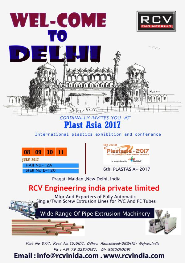 RCV Engineering India Private Limited  we are proud to announce our presence in Plast asia 2017  at Pragati Maidan - New Delhi  date : 8 -11 July 2017  please visit our stall in Hall 12 A stall No E-120   Twin Screw Extruder PVC Pipe Extruder PVC Pipe Plant PVC Pipe Extrusion line PVC Pipe Machine CPVC Pipe Plant conical Machine Conical twin screw Machine UPVC Pipe Machine UPVC Pipe Extruder UPVC Pipe Extrusion line CPVC Pipe Machine CPVC Pipe Extruder conical twin screw Extruder machine  CPVC Pipe Extrusion Line  single Screw Extruder HDPE Pipe Extruder HDPE Pipe Plant HDPE Pipe Extrusion line HDPE Pipe Machine rapid series extruder PIPE extruder     PVC Pipe Die head CPVC Pipe Die Head UPVC Pipe Die Head Die for PVC Pipe Die for CPVC Pipe Die for UPVC Pipe  Vacuum Sizing tank Spray tank Vacuum tank for Pipe Calibration Tank for Pipe  Traction Machine Tube Traction Machine Tube traction unit haul off machine cater piller machine  tube cutting machine tube cutting unit pipe cutting machine pipe cutting unit online pipe cutting machine online tube cutting machine planetory cutting machine planetory cutting unit chemfering machine online chemfering machine  pipe tilting unit pipe tilting machine tube tilting unit tube tilting machine        Single Screw / Twin Screw Extruders (For PVC/HDPE Pipes)   HDPE - PVC Pipe Plant Single / Twin Screw Extruder for PVC Pipe Plant Single Screw Extruder for HDPE Pipe Plant  Die Head and Tooling for PVC / HDPE Pipes Extruder with Down Stream PVC/HDPE Pipe and Line  PVC Pipe Plant  HDPE Pipe Plant Extruder Pipe Plant PVC Pipe Extruder Plant Dual Pipe Extruder Plant PVC/HDPE Pipe Extruder Plant from India Vacuum Sizing Tank - manufacturers exporters & suppliers of Vacuum Tank, Twin Vacuum Sizing Tank, Plastic Vacuum Sizing Tank in India Tube Cooling Tank Pipe Cooling Tank Cooling Tank Pressure Cooling Tank Tube Traction Unit  Pipe Traction Unit Plastic Tube and Pipe Traction - Manufacturer and Exporter from India Tube Cutting Unit Pipe