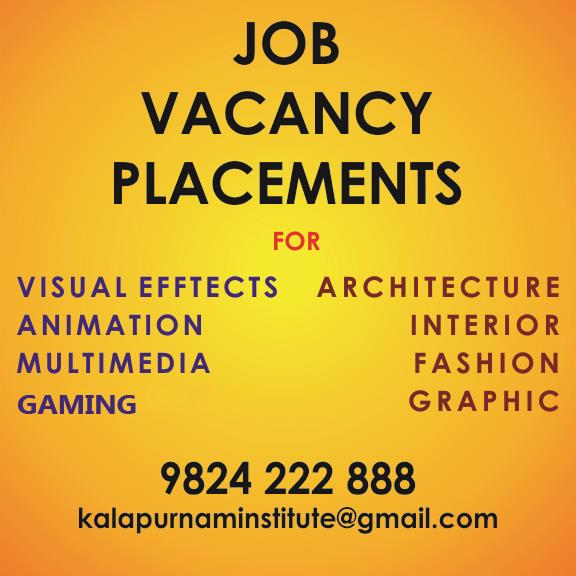 JOB VACANCY IN AHMEDABAD / AJMER ( RAJASTHAN ) 1. Faculty : Male / Female ( Fresher / Experienced ) * Interior Design / Architecture Design   2. Faculty : Female Preferred ( Fresher / Experienced ) * Fashion Designer Designer for western wear garments. Product line includes gowns, dresses, high-end wear with embroidery detailing catering to European markets and for domestic market. We are looking for someone who is creative and understands fabric, technical aspects of stitching, able to convert a sketch to a physical product. You will be responsible in many ways from sourcing to accomplishing final product. Also Work on sewing machine.   3. Faculty : Male / Female ( Fresher / Experienced ) * AutoCAD 2D & 3D ( Civil Application ), Revit Architecture, Google Sketch up, Archicad. Preferred if Additional Knowledge Of 3Ds Max, V - ray With Interior / Architecture Application Knowledge.   4. Faculty : Male / Female ( Fresher / Experienced ) * 3d Architectural Walkthrough Artist  * 3d Exhibition Stall Designer Should have Software Knowledge: Photoshop, AutoCAD, Revit, 3Ds Max, Mental Ray,  V – ray, Premiere, Audition, AFX.   5. 3D Animation Faculty : Male / Female ( Fresher / Experienced ) * 3ds Max * Maya Artist * Cinema 4D * Mud Box * Z Brush Should have teaching experience.  6. VFX Faculty : Male / Female ( Fresher / Experienced ) * After Effects * Fusion * Nuke * Mocha * Silhouette * Premiere * Final Cut Pro * Fume FX * Real Flow * MudBox * Boujou 7. Graphics Faculty : Male / Female - Female Preferred  ( Only Experienced ) * Graphics Designer  8. Multimedia Faculty : Male / Female ( Fresher / Experienced ) * Multimedia Designer   9. Web Faculty : Male / Female ( Fresher / Experienced ) * Web Designer Teaching for UI Developer/ Web Page Design (Html/ Css) for its office based in Ahmedabad. Should have good knowledge in developing web pages and grid layouts. Should follow the coding standards. Should have a average knowledge about responsive & parallax. Should be able to
