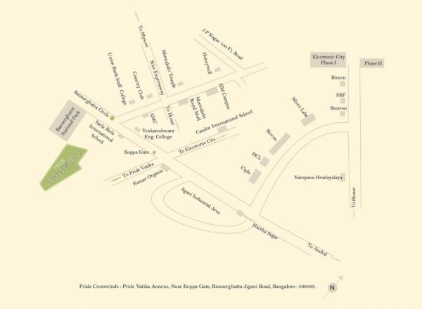 BMRDA Approved villa plots in Bangalore South Luxurious Villa Plots with panoramic views and hi-end specifications. The project offers you beautifully landscaped 60' X 40' Villa Plots which is well-connected to offices and entertainment hubs and closest proximity to premier educational institutions & Healthcare centres, Expansive, 54 acre township with concrete roads, Lavish Club House with exciting outdoor, adventure, fitness and lifestyle activities, Man-made lake, Underground electrification, Hydro-pneumatic water supply. www.pridegroup.net/pride-crosswinds