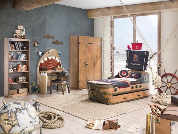 Black Pirate Themed Bedroom Set in Rajkot  Make way for the captain! Cilek Black Pirate Series is an exciting theme transforming your childs bedroom into an adventure filled atmosphere.  The Pirate Ship Bed gives the real feeling of sleeping in a Pirate's bed. Accessories offered also match the theme including a treasure chest storage unit, Shark Desk and Black Pirate Chair. Kindly VIsit Rajkot. More Visit BELLO INTERIO