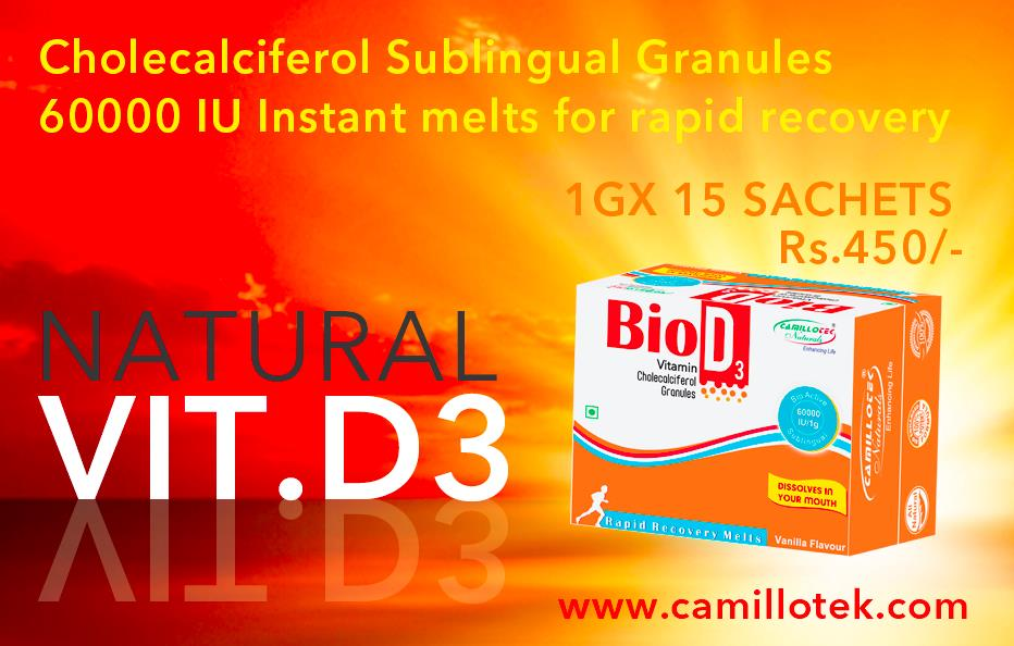 Vitamin D3 (cholecalciferol) is an essential vitamin supplement which is to improve overall health and preferably to treat osteoporosis.	  Natural form of Vitamin D 60000 IU (Cholecalciferol Sublingual Granules) Instant melts for rapid recovery.  Vitamin D3 (cholecalciferol) supplement, treat osteoporosis, Vit. D3 Online, Natural vitamin D3 formulas, buy Vitamin D3, organic Vitamin D3 Complex, Vitamin D3 nutrient, super Strength Vitamin D3, supplementing with D3, vitamin D3 sachets, Vitamin D3 granules, vitamin D3 stabilized, vitamin D3 (Generic Drug), Vitamin D3 60, 000 IU/1g, Vegan and Vegetarian Vitamin D3 Supplement.  Vitamin D supplement manufacturers, Vitamin D supplement suppliers, Vitamin D supplement exporters wholesalers, traders in Chennai, India.