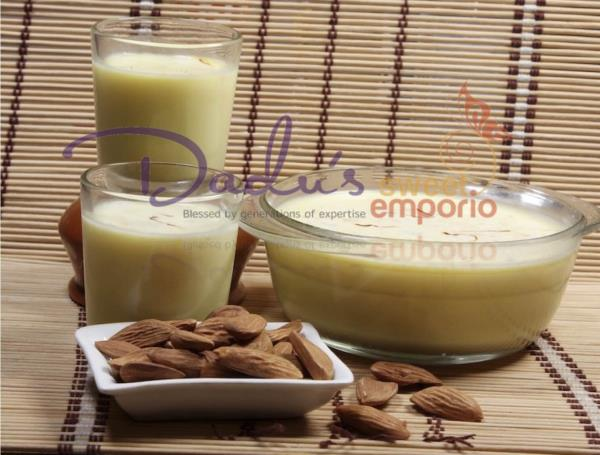 Badam milk is a favorite chilled drink mainly amongst the kids. Almond milk is the most nutritious and a very rich drink, made with crushed almonds and pure saffron. Go healthy with Dadus Kesaria Badam Milk this summer. Enjoy it at Dadu's Sweet Emporio, Baner, Pune (One of the best Sweet Shop in the Pune)