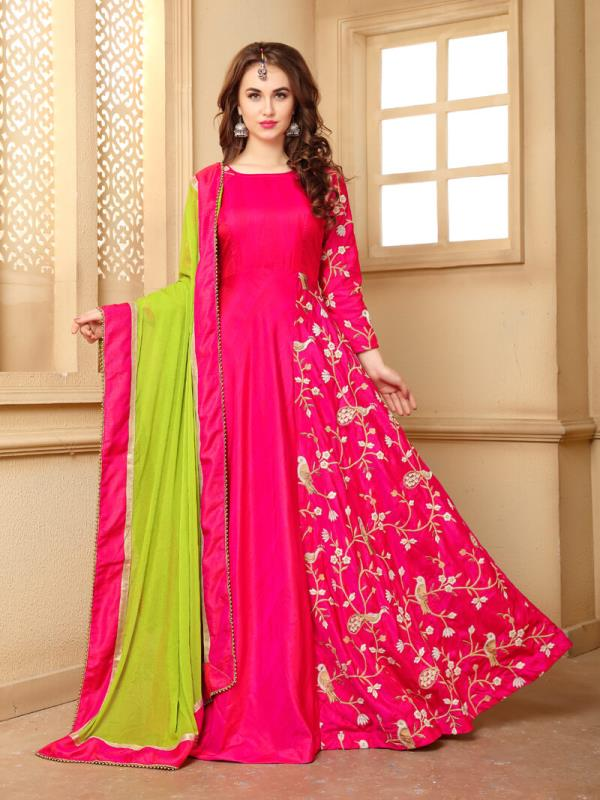 Pink Banarasi Silk Gown This Color Made From Fabric