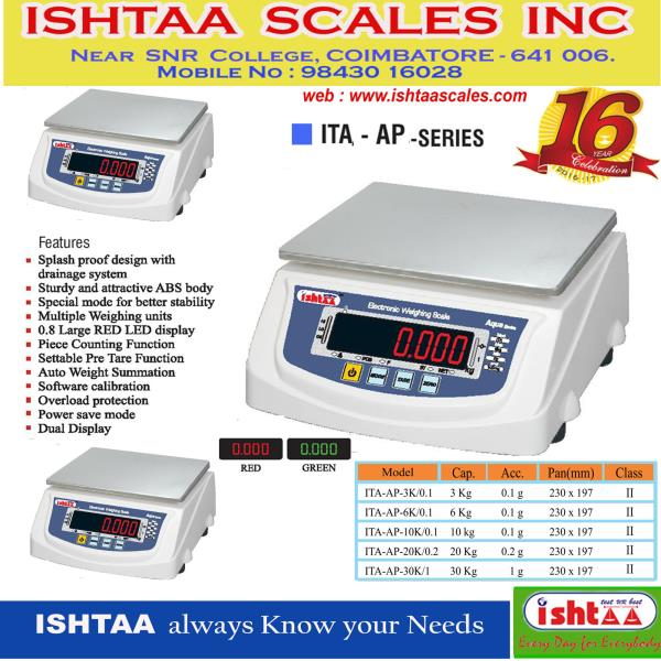 This is the most convenient strain gauge load cell based digital scale, indispensable to modern commerce. This design has more advantages, also very reliable and accurate.  Ishtaa Scales employ the latest techniques and approved by the Directorate of Legal metrology for stamping by the Weights and Measures Authorities.  ISHTAA – ITA - AP Series Capacity: 3 Kg, 6 Kg, 10 Kg, 20 Kg & 30 Kg Accuracy : 0.1g , 0.2g & 1g – ( Class II & Class III ) Pan Size : 197 x 230 mm Body: ABS  Display - Front : LED 0.8mm & Rear : LED 0.56mm ( Red & Green  )    #PackingweighingScale  #SilverWeighingScale #CourierservicesScale   #PieceCountingScale  #HardwareShopScale #DairyunitsWeighingScale  #IndustrialweighingScale #CottageIndustryScale #IshtaaWeighing #Scales #AccurateWeighing #AccurateScale #Weighing  Contact: 98430 16028 Click here to know more : https://goo.gl/OTSYcN
