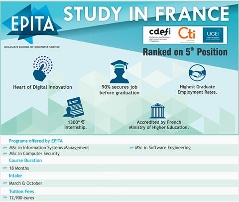 Study In France   Epita International offers PG courses in Computer Security , Computer Engineering & Information Systems . Ranked 5th position in France for the IT courses , good placement records , Paid internships available . upto 2 years Stayback option available . Applications for Sep 2017 intake is open . For more information contact Gyaan Overseas Education   Study In Europe Overseas Education Consultants  Study Abroad Consultants Epita