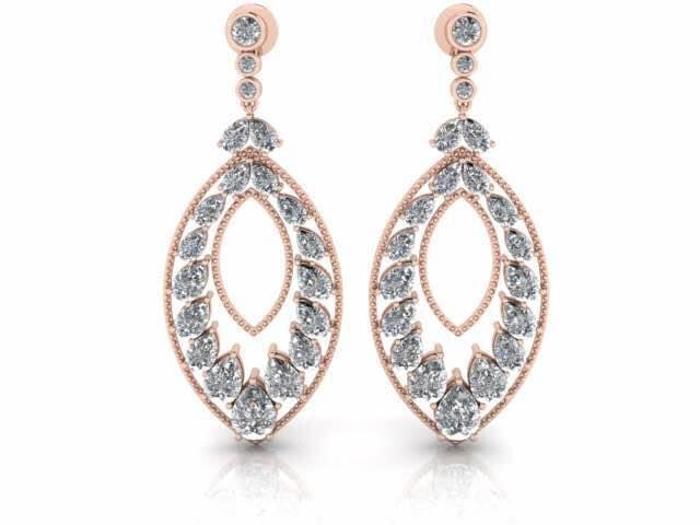 This piece of Party Earrings will definitely fit to your budget. Get this Cubic Zirconia Silver Earring pair and show your expensive looking affordable choice. These marquise shape earrings studded with pear cut cz will fill your presence with glitters. Look gorgeous wearing these Rose Gold Plated Jewellery by Valentine Jewellery Jaipur. Drop us an email for wholesale and customized order.