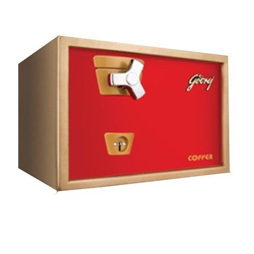 Godrej Safe Premium Coffer V1 Red  Design that exudes elegance Equipped with a Godrej 6 Lever Lock Twin strong movable shooting bolts for extra protection Can be bolted on your wardrobe or dressing table  Specifications Dimensions (H x W x D)	254 mm x 362 mm x 328 mm Net Weight 20 kg Volume 21 litre  Visit our store to Avail Discounts on Godrej Safes. Click to know more. http://mattressdealers.foamplaza.com/productsearch/godrej