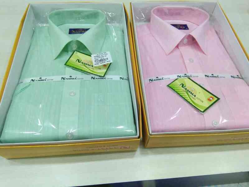 Namma cotton shirts in Coimbatore  manufacturers of white shirts , colour shirts and dhoties  variety of colour shirts available for mens