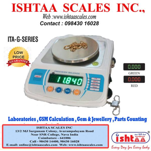 This is the most convenient strain gauge load cell based digital scale, indispensable to modern commerce. This design has more advantages, also very reliable and accurate.  Ishtaa Scales employ the latest techniques and approved by the Directorate of Legal metrology for stamping by the Weights and Measures Authorities.  ISHTAA- ITA – G series Capacity : 300gm & 600gm  Accuracy : 0.01g Body: ABS Display: LED 0.56mm ( Red & Green )  Features #Counting Function #Overload Alarm # High Accuracy #Rear & Extra Display  #HighPrecisionWeighingScale #BatteryOperatedWeighingScale..  #LabScales  #ScientificScales  #GemWeighingScales  #JewelleryWeighingScale #GoldWeighingElectronicScales  #WeightScale  #PaperWeighing   #ChemicalWeighing  #DigitalWeighingScale  #IShtaa #Tamilnadu  #WeighingService  #WeighingScaleSpares