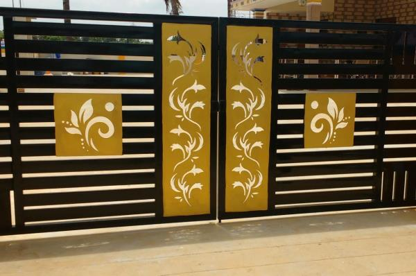 3MM thickness - BRASS- Thirupur (with fabrication) 3 mm Thickness 5f X 2f - Brass - Architect design Made in waterjet cutting machine..In This Design Used To assemble t in front of gate .We have done fabrication work also.  As per Our customer requirement we cut the design as per the given drawing.  Good finishing,  All kind of material can be cut easily..  All kind of Architectural designs can be cut within smooth finish.  Around 200 mm thickness can be cut in our waterjet cutting machine