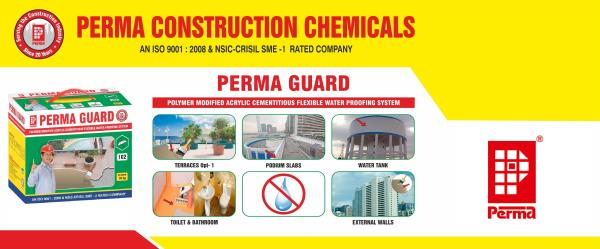 WATERPROOFING CHEMICALS MANUFACTURER  Perma Construction Aids, an ISO 9001 - 2008 certified company, is manufacturing and marketing various construction chemicals of international standards, all over India and neighbouring countries. PERMA offers the most modern construction chemicals to cater to all critical applications in the civil engineering industry.   The growth factor and performance criteria for building products are expected to increase multi-fold in the 21st century. To bridge these gaps between performance expectation and the availability of quality construction chemicals, professionals with decades of experience in this field have joined hands to take up this challenge under the banner of