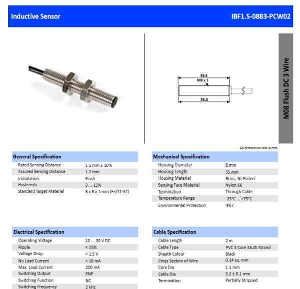 M8 DC 3 WIRE INDUCTIVE PROXIMITY SENSOR PNP NC WITH 2M CABLE LENGTH AND 30MM BARREL LENGTH.