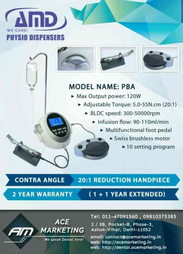 One of the Best Physiodispenser In India is AMD Physio Dispenser.  Ace Marketing Presents To you one of the Best Implant Motor Assembled In India   AMD Physiodispenser have two Models   AMD Physiodispenser  PB Analog   AMD Physiodispenser COXo PBA Full Digital