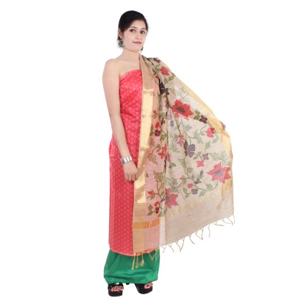 Aaditri Clothing Women's Chanderi Unstitched Dress Material (Peach)-accs30